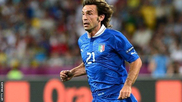 Andrea Pirlo playing for Italy