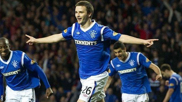 Scotland Under-21 midfielder Jamie Ness celebrates scoring for Rangers