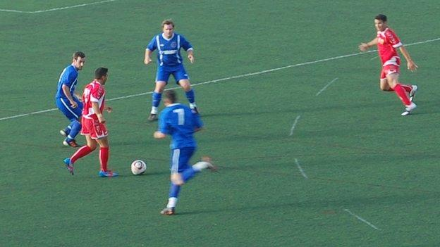 Action from Gibraltar vs Isle of Man