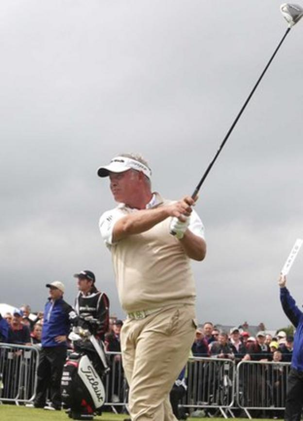 Darren Clarke tees off on the first hole on Thursday