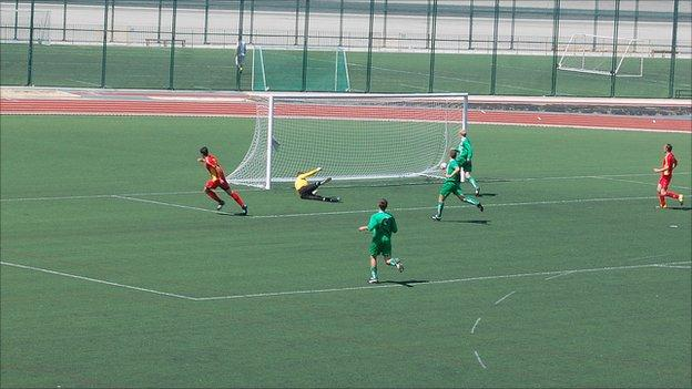 The Isle of Man in action against Guernsey at the Victoria Stadium in Gibraltar