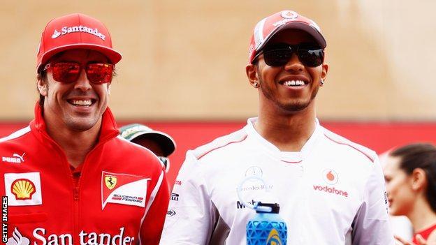 Fernando Alonso and Lewis Hamilton