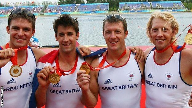 Steve Williams (second from right) won his second Olympic gold in Beijing
