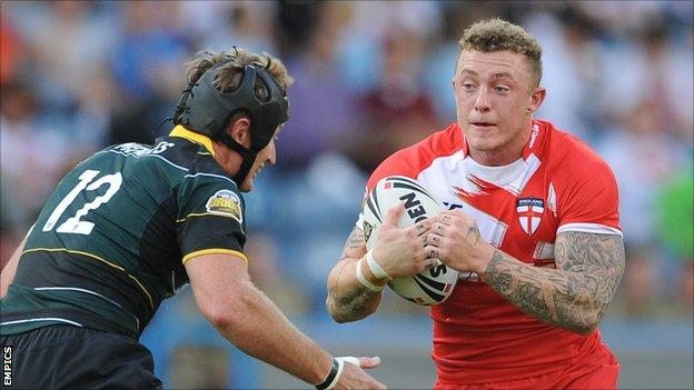 Wigan's Josh Charnley in action for England