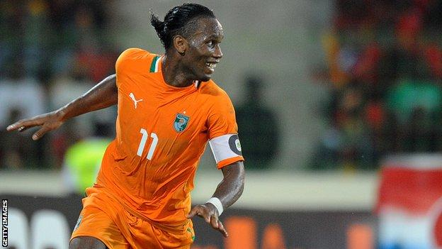 Didier Drogba of Ivory Coast in action at the 2012 Nations Cup