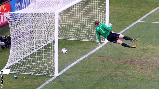 Frank Lampard's shot crosses the line against Germany in the 2010 World Cup