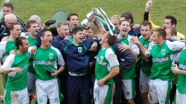 Guernsey FC celebrate winning the Combined Counties League Division One title