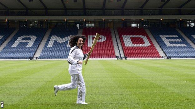 The Olympic flame at Hampden