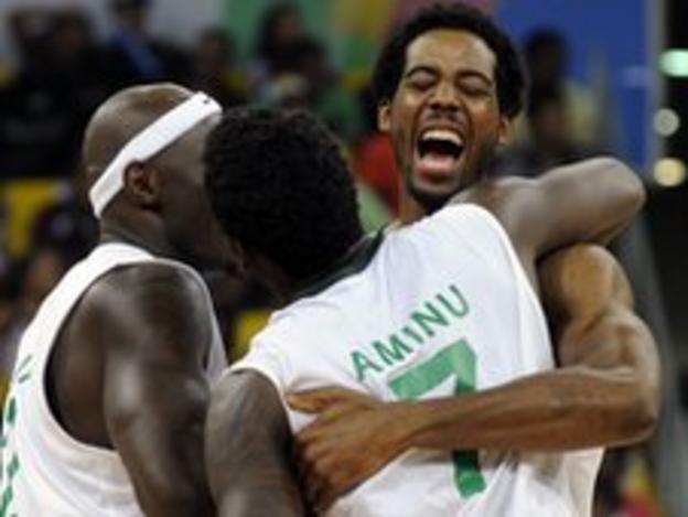 Nigeria basketball celebrations