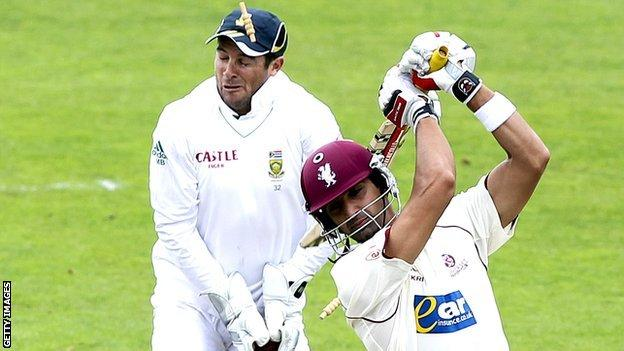Mark Boucher is hit by a bail