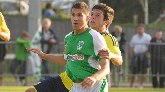 Guernsey FC's Scott Bougourd in a pre-season game with Bristol City last year