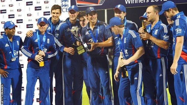 England's one-day side celebrate victory over Australia