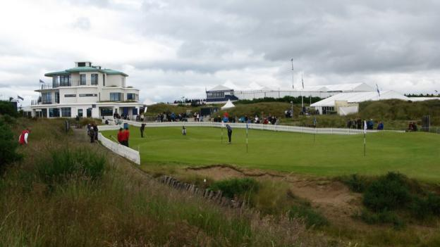 The putting green behind the ninth hole at Castle Stuart Golf Links