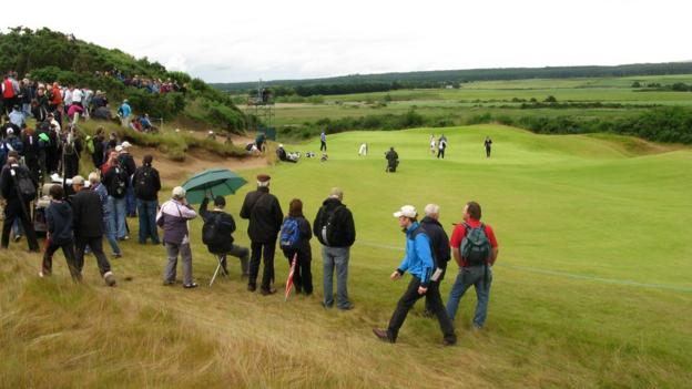 The approach to the par-three fourth hole at Castle Stuart Golf Links