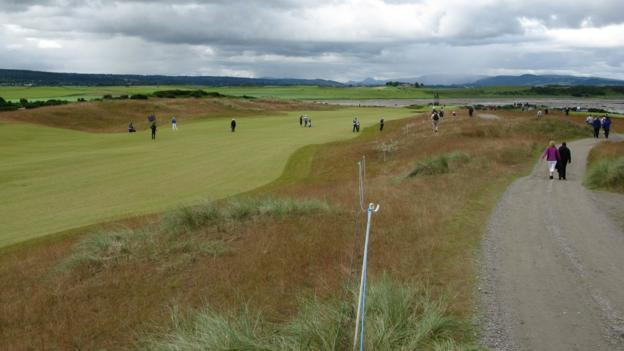 The fairway of the sixth hole at Castle Stuart Golf Links