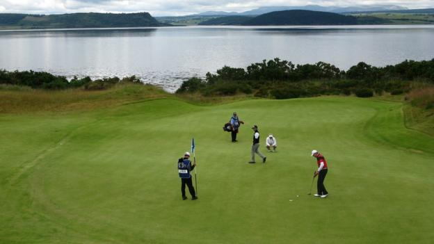 The eighth green at Castle Stuart Golf Links