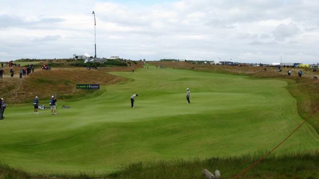 Darren Fichardt, Peter Whiteford and Aaron Baddeley at Castle Stuart Golf Links