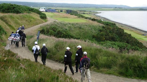 Martin Laird, Paul Lawrie and Phil Mickelson at Castle Stuart Golf Links
