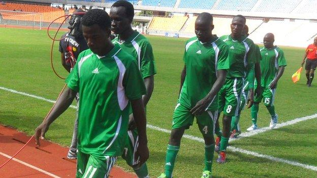 Dejected Al Salaam Wau players after losing 7-0 to APR