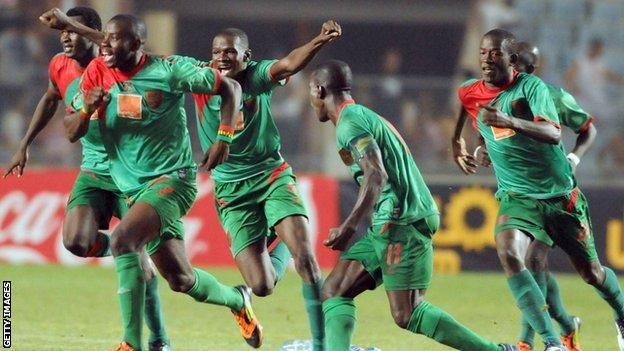 Djoliba of Mali celebrate beating Tunisia's Club Africain