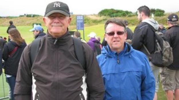 Golf fans Laurie Taylor and Derek Urquhart