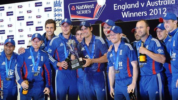 England with the one-day series trophy