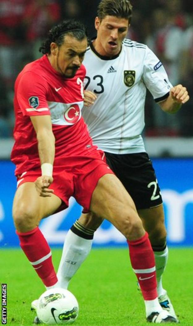 New Eskisehirspor signing Cetin (left) in action for Turkey against Germany