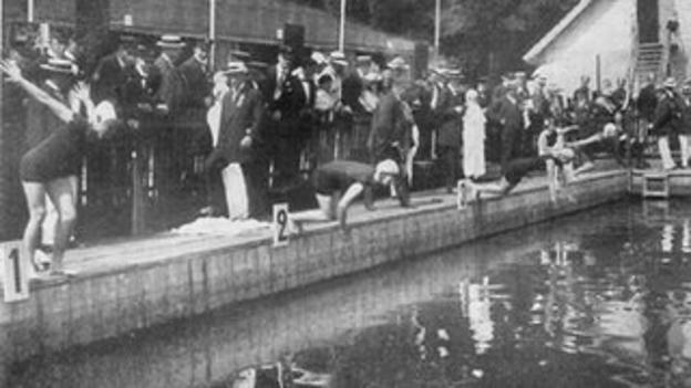 Start of 400m for women, Stockholm 1912