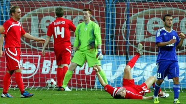 Nikola Rak celebrates after scoring the sixth goal