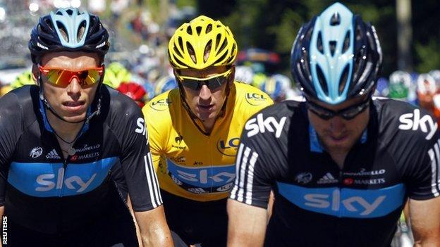Bradley Wiggins in the Tour de France's yellow jersey