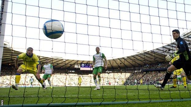 Van Tornhout scores the winner in the 1-0 victory over Celtic at Hampden