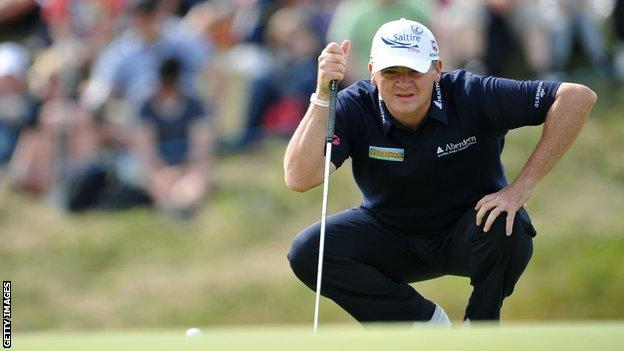 Paul Lawrie eyes up a putt at Royal Lytham and St Annes
