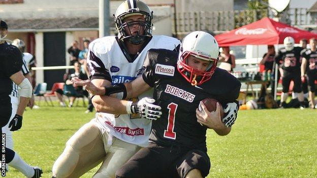 Cornish Sharks GB linebacker Matt Henderson sacks Bournemouth's quarterback