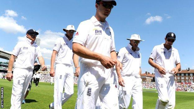 England players leave the pitch at The Oval