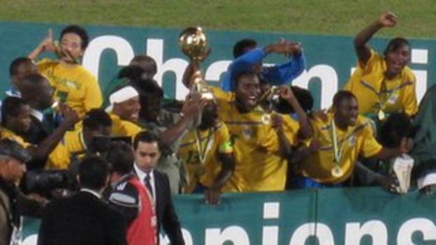 Gabon celebrate winning the African Under-23 Championship