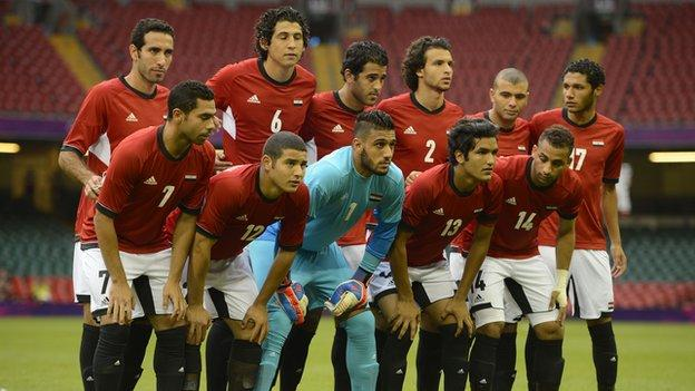 Egypt's 2012 Olympic team line up before their opening clash against Brazil on Thursday