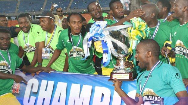 Yanga celebrate with the Cecafa Club Cup