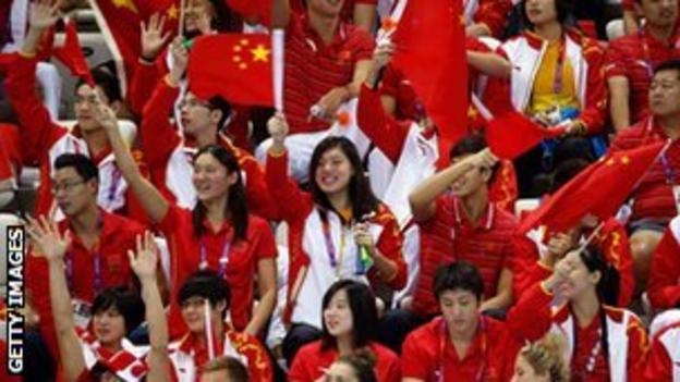 Chinese fans cheering at the Aquatic Centre