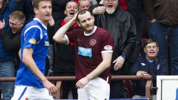 Craig Beattie in action against Rangers