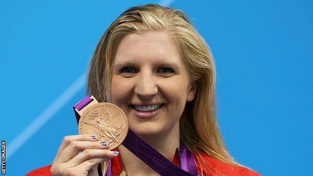 Rebecca Adlington shows off bronze medal
