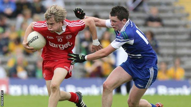 Kieran McGeary of Tyrone minors in action against Monaghan