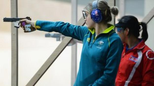 Hayley Chapman of Australia competes in the women's 25m Pistol Shooting qualification