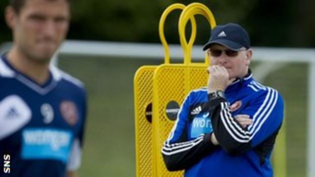 McGlynn looks pensive in training as he prepares Hearts for the SPL kick-off