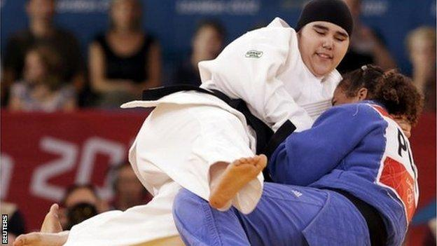 Saudi Arabia's Wojdan Shahrkhani in action at her first Olympic Games