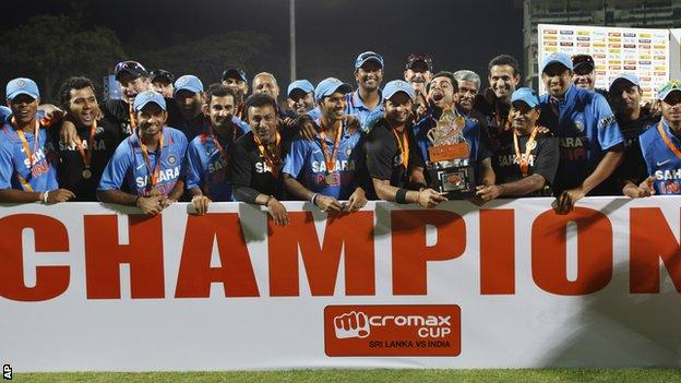 India celebrate with the ODI series trophy