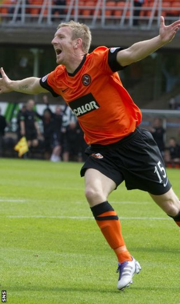 Gardyne, who arrived from Ross County, celebrates after scoring on his debut