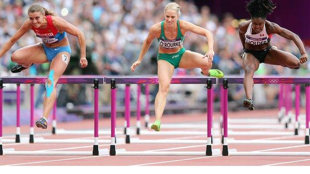 Derval O'Rourke (centre) clears a hurdle in Monday's heats