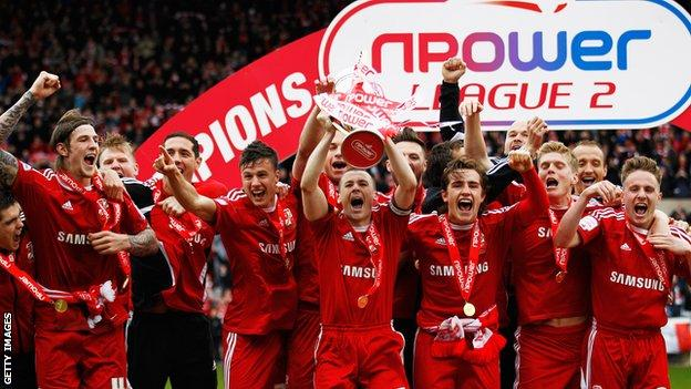 Swindon Town celebrate the League Two title