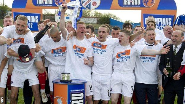 Cowdenbeath celebrate becoming Division Two champions in May
