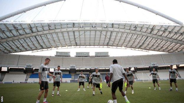Motherwell train in the Olympic Stadium in Athens